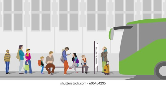 People waiting for the bus at bus stop in the city. Character set.