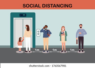 People waiting for elevator or lift.Social distancing mother and girl wearing protective in medical face protection mask corona virus covid 19 spread concept.Man and women keep distance queue 1 meter.
