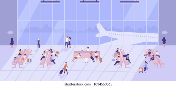 People waiting inside airport building with large panoramic windows and airplanes outside. Passengers sitting on benches and walking with baggage at terminal. Flat cartoon vector illustration.