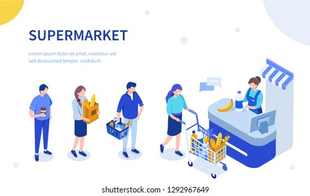 People waiting in line at grocery supermarket. Can use for web banner, infographics, hero images. Flat isometric vector illustration isolated on white background.
