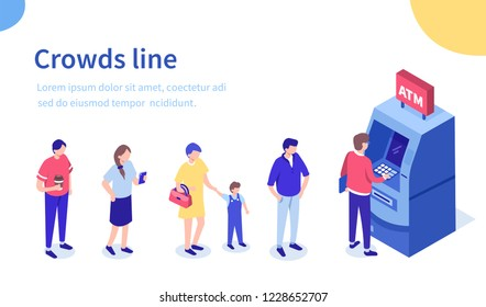 People waiting in line near atm machine. Can use for web banner, infographics, hero images. Flat isometric vector illustration isolated on white background.