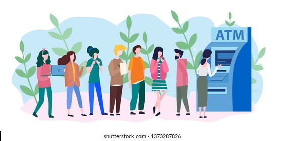 People are waiting in line near ATM machine, Queue at the ATM. Business woman and man are standing in line. Vector illustration, perform financial transactions using ATM.