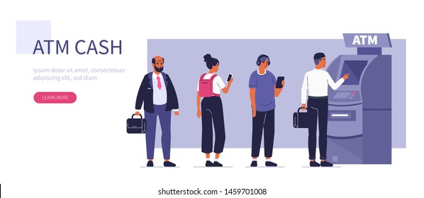 People waiting in line near atm machine. Can use for backgrounds, infographics, hero images. Flat style modern vector illustration.