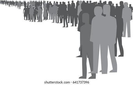 People waiting in line queue