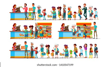 People Waiting In Long Queue To Cashier Set Vector. Characters Customer Young And Old Man With Woman, Teenager And Children With Purchase In Supermarket Near Cashier. Flat Cartoon Illustration