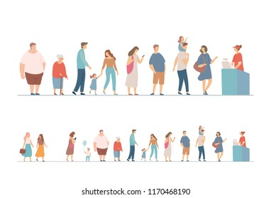People waiting in long queue at counter. Flat vector illustration.