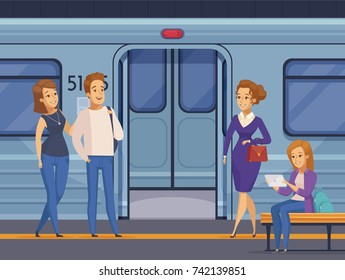 People waiting at subway underground station with open metro train doors on background cartoon composition  vector illustration