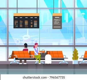 People Waiting For Takeoff In Airport Hall Or Departure Lounge Passangers Terminal Check In Interior Flat Vector Illustration