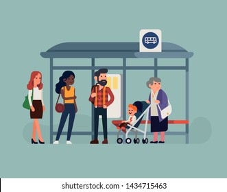 People waiting their bus at bus stop. City community transport vector concept illustration with diverse commuters standing together