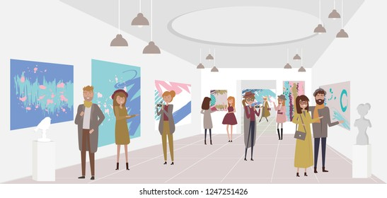 People walk around the exhibition of contemporary art, view exhibits, take photos and communicate with each other. Editable vector illustration