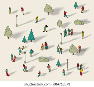 People walk in city park isolate. Color vector illustration. EPS10