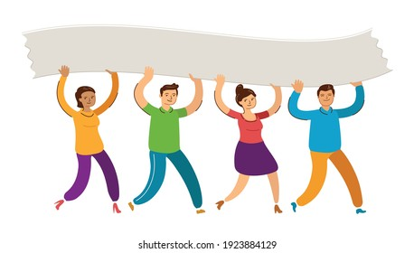 People walk and raise blank poster. Teamwork, solidarity concept vector illustration