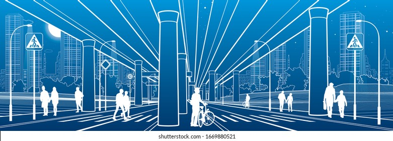 People walk under the car overpass. Large highway. Modern night town. Outline Urban scene. Big bridge. Industrial illustration. White lines on blue background. Vector design art
