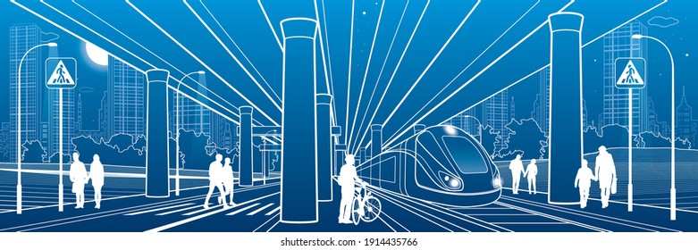 People walk under the car overpass. Large highway. Train rides. Modern night town. Urban transport. Big bridge. Industrial outline illustration. White lines on blue background. Vector design art