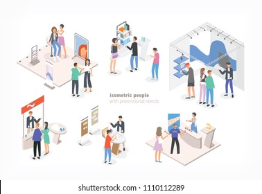 People walking among commercial promotional stands and talking to consultants and promoters advertising products or services at trade fair or exhibition. Colorful isometric vector illustration