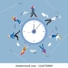 People walking around a circular clock. Walking against the clock.  Ilustration concept metaphor of running a race against time.