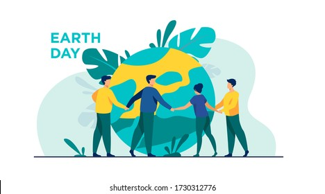 People walking around globe and holding each other by hands flat vector illustration. Tiny people saving world ecology. Big planet at background. Earth day environment saving and nature care concept