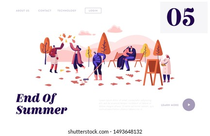 People Walking in Autumn City Park Website Landing Page. Girls Playing Fallen Leaves. Painter Drawing Picture, Couple Hug on Bench, Man Raking Ground Web Page Banner. Cartoon Flat Vector Illustration