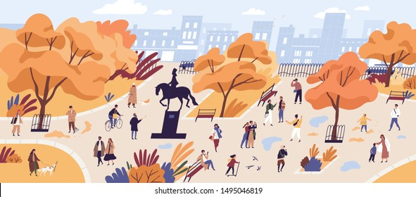 People walking in autumn park flat vector illustration. Citizens strolling in city center recreational area. Fall season nature and outdoor activities. Orange trees and building on horizon landscape. - Shutterstock ID 1495046819