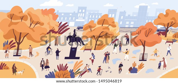 People walking in autumn park flat vector illustration. Citizens strolling in city center recreational area. Fall season nature and outdoor activities. Orange trees and building on horizon landscape.