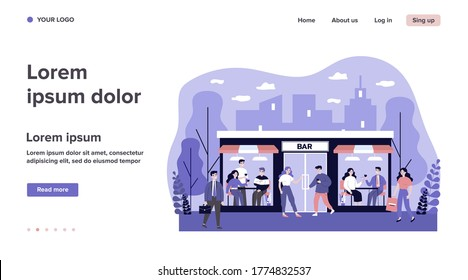People walking to bar. Men and women drinking alcohol in pub, facade view flat vector illustration. Easing of lockdown, leisure concept for banner, website design or landing web page