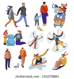 People walking in cold weather, sliding on sleds down hill or snowboarding. Kids making snow angel, building snowman at playground. Winter holidays sport and outdoors activities. Vector illustrations.