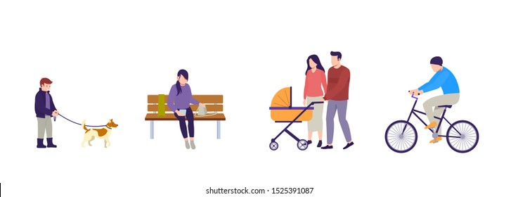 People walking. Couple with stroller are walking. Man rides bicycle. Boy is walking dog. Girl sitting on bench with smartphone. Flat vector illustration on white background