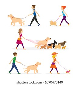 People Walking with Dogs Set, Men and Women