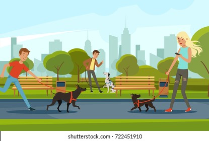 People walking with dogs in urban park. Vector landscape in cartoon style. Urban park with dog and people walk illustration