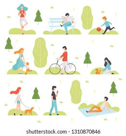 People Walking, Doing Sports, Relaxing in Park, Men and Women Enjoying Nature Outdoors, Leisure Outdoor Activities Vector Illustration