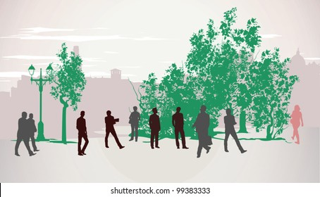 People walking down the street during the day