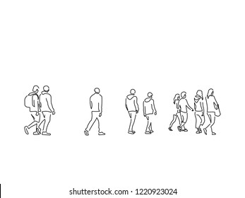 People walking isolated line drawing, vector illustration design. Urban life collection.