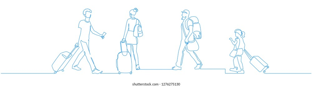 People walking with luggage continuous one line vector drawing. Tourists in airport hand drawn characters. Female and male blue silhouettes with baggage, handbags. Minimalistic contour illustration