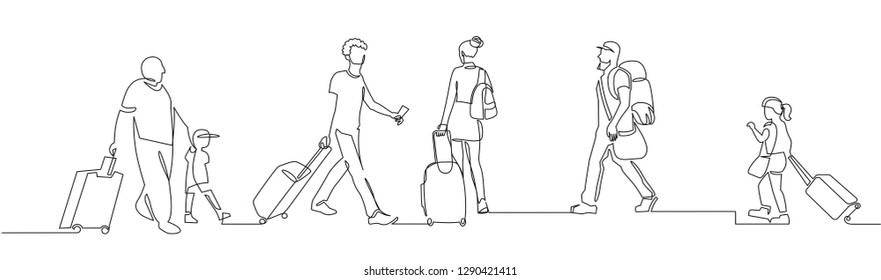 People walking with luggage continuous one line vector drawing. Tourists in airport hand drawn characters. Female and male silhouettes with baggage, handbags. Minimalistic contour illustration