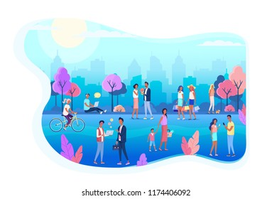 People walking on the city street park color flat illustration