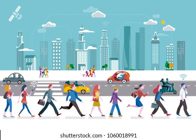 People walking on the street, ant the background a skyline with skyscrapers. They are using their smart phones. In the streets some autonomous cars.