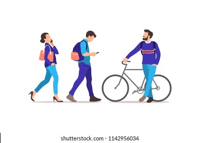 People walking on the street. Vector illustration.
