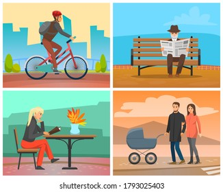 People walking on weekends vector, father and mother with perambulator. Old man reading newspaper, woman reading menu in cafe, autumn season vacations illustration in flat style design for web, print