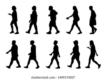 People walking on white background, Silhouette woman and man collection, Vector shape group girl and boy