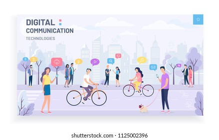 People walking in the park, digital internet technology communication.Social media and lifestyle