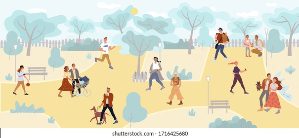 People walking in park enjoy outdoor active rest. Young, adult, teenager characters. Family couple, lonely person, pet owner, woman, man, kids, strollers, pregnant, newlyweds, sportsman different ages