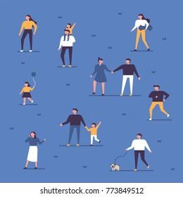 people walking in the park vector illustration flat design