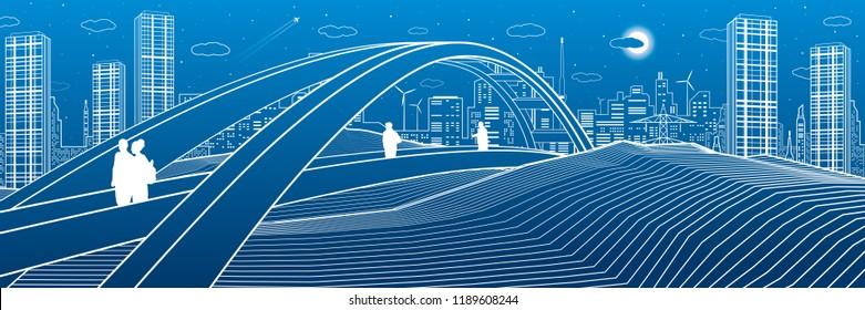 People walking at pedestrian bridge. City skyline. Modern night town. Infrastructure illustration, urban scene. White lines on blue background. Vector design art