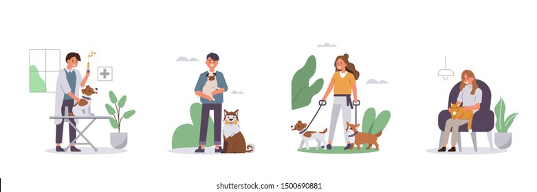 People Walking, Relaxing with Pets Set. Veterinarian vaccinating Dog in Vet Clinic. Woman and Man Characters Taking Care of Animals. Dog and Cat Pet Sitters Concept. Flat Cartoon Vector Illustration.