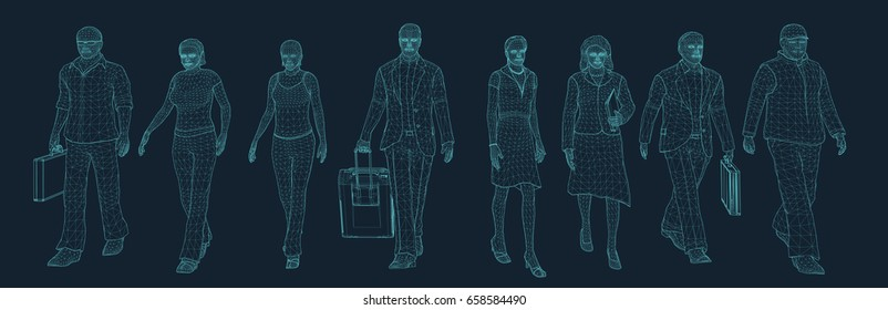 people walking set in wire frame style