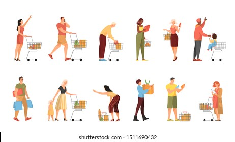 People walking with shopping cart in supermarket set. Character with basket in the store. Isolated flat vector illustration