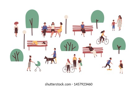 People walking, sitting on benches, skateboarding and riding bicycle outdoor. Cute funny men and women performing leisure and sports activities in park. Flat cartoon colorful vector illustration.