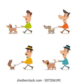 People Walking with Their Dogs. Colorful Vector Set