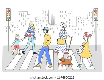 People walking through crosswalk to another side flat vector illustration. Pedestrians at road with cityscape at background. Human evolution theory lifestyle, traffic and city concept
