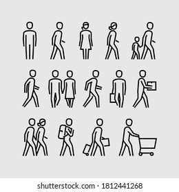 People Walking Vector Line Icons